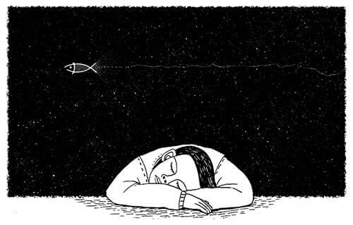 眠っている男性のイラスト